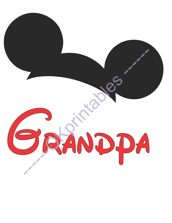 Grandpa Mickey Ears Disney Printable Iron On By Okprintablesshop