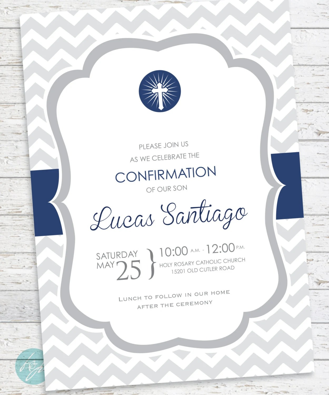 Confirmation Invitation Baptism First Communion By