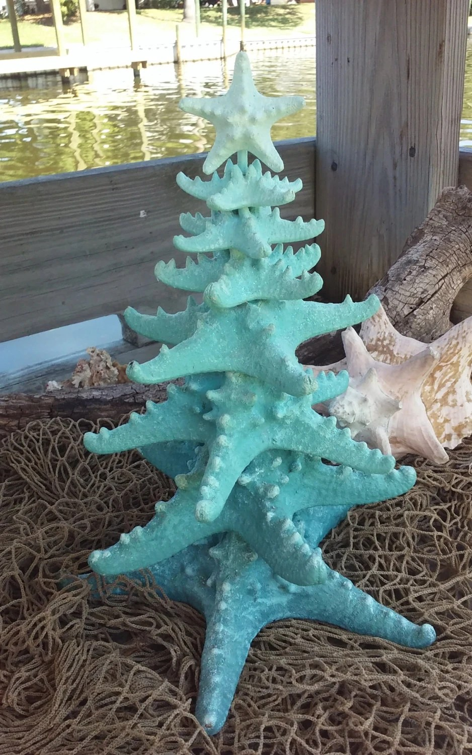 Glittery Ombre Starfish Tree Blue Spruce Of The Sea Pale