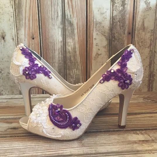 Colored Bridal Shoes Purple Ivory White All Lace Beaded Peep