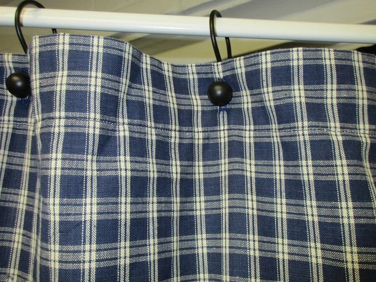 Country Primitive Navy Blue Plaid Homespun Shower Curtain