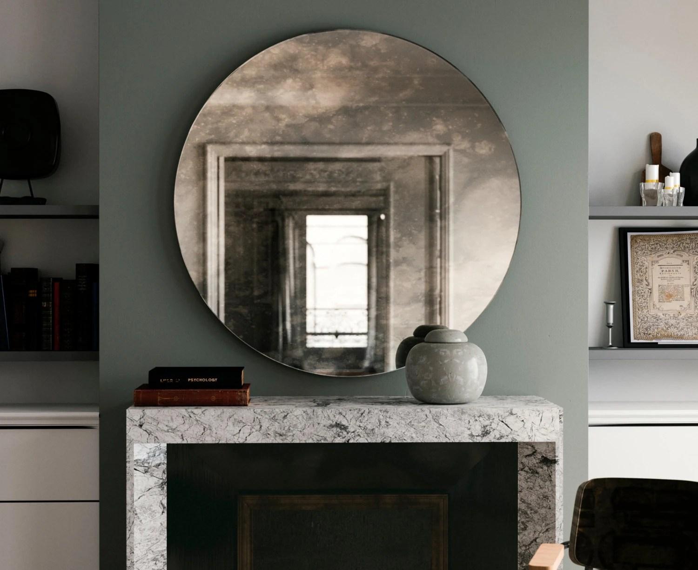Antiqued Round Mirror. Decorative Wall Mirror By