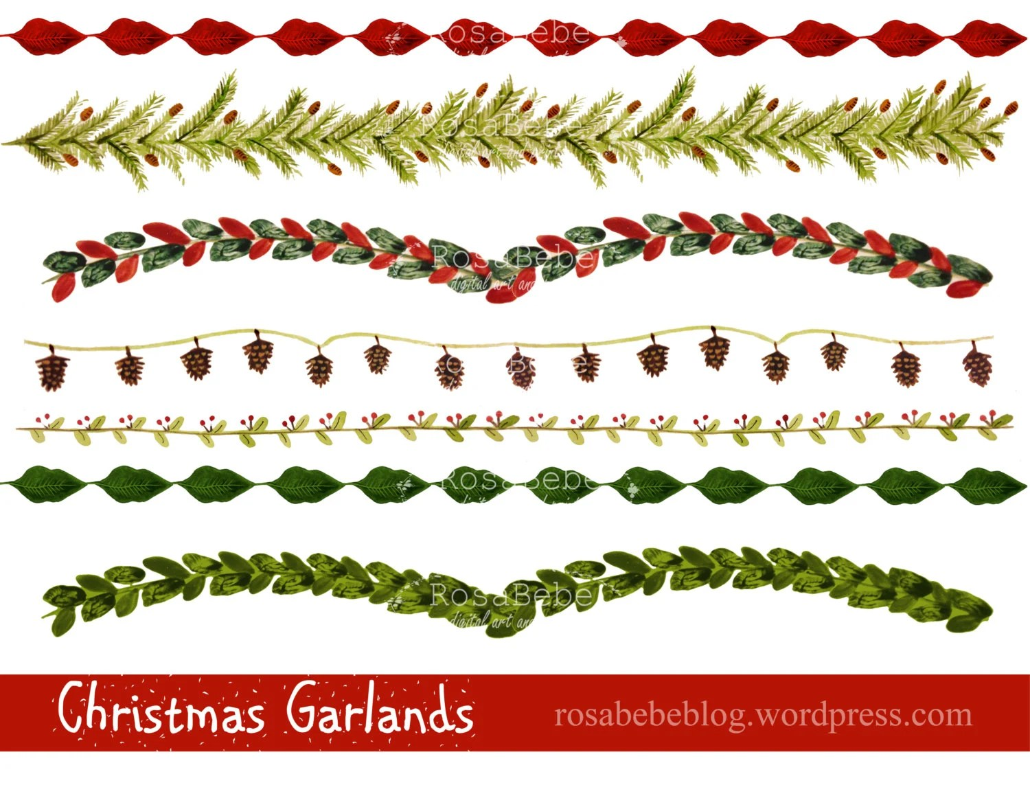 Items Similar To Christmas Borders, Hand Painted Clipart