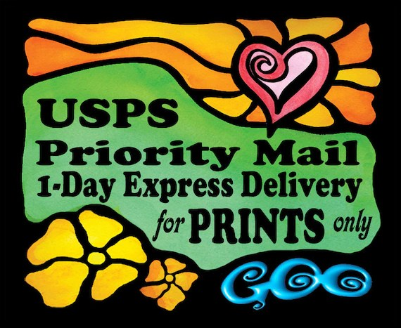 USPS Priority Mail 1 Day Delivery for GooStudio PRINTS Shipped