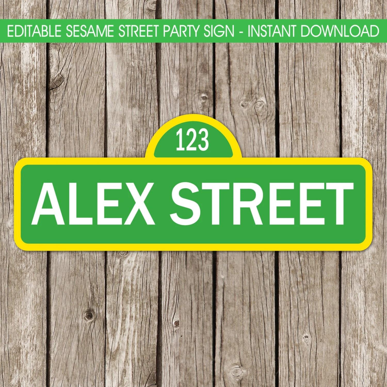 Sesame Street Party Sign Editable Sesame Street Sign