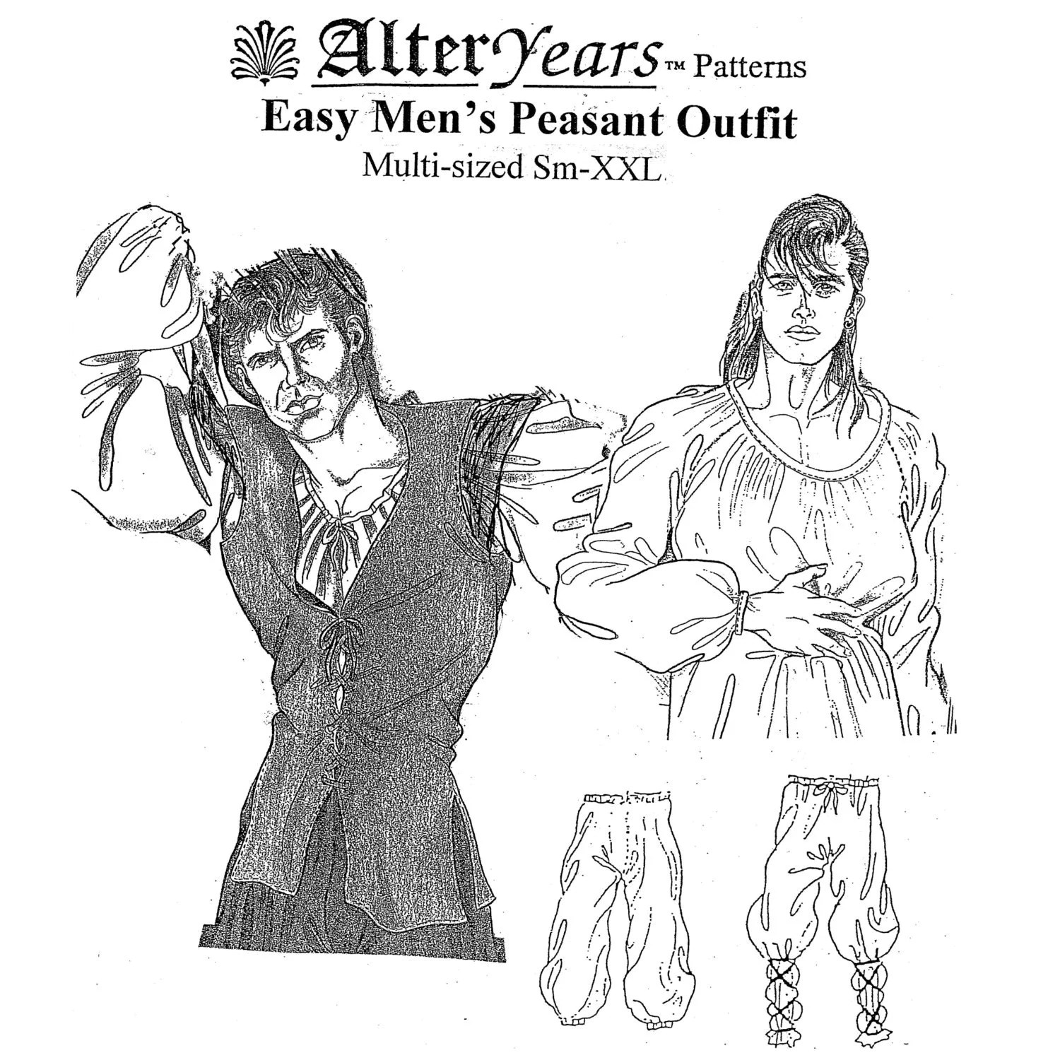 Ay37 Easy Man S Peasant Outfit Sewing Pattern By Alter