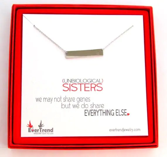 Unbiological Sister Bar Intial Necklace