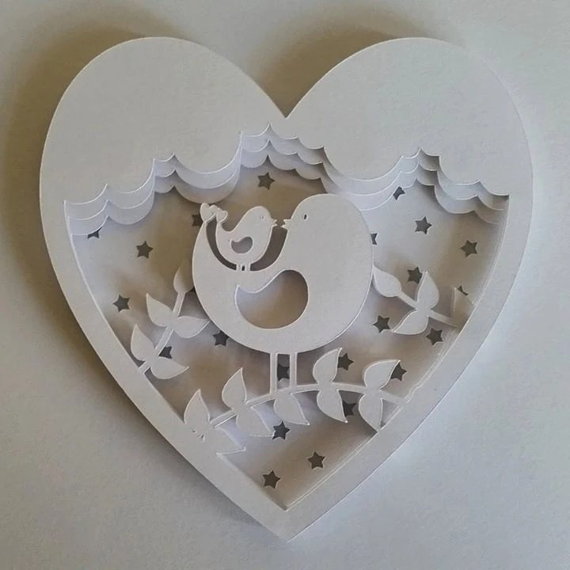 Mummy Amp Baby Bird DIY 3D Shadow Box Layered Papercut Template