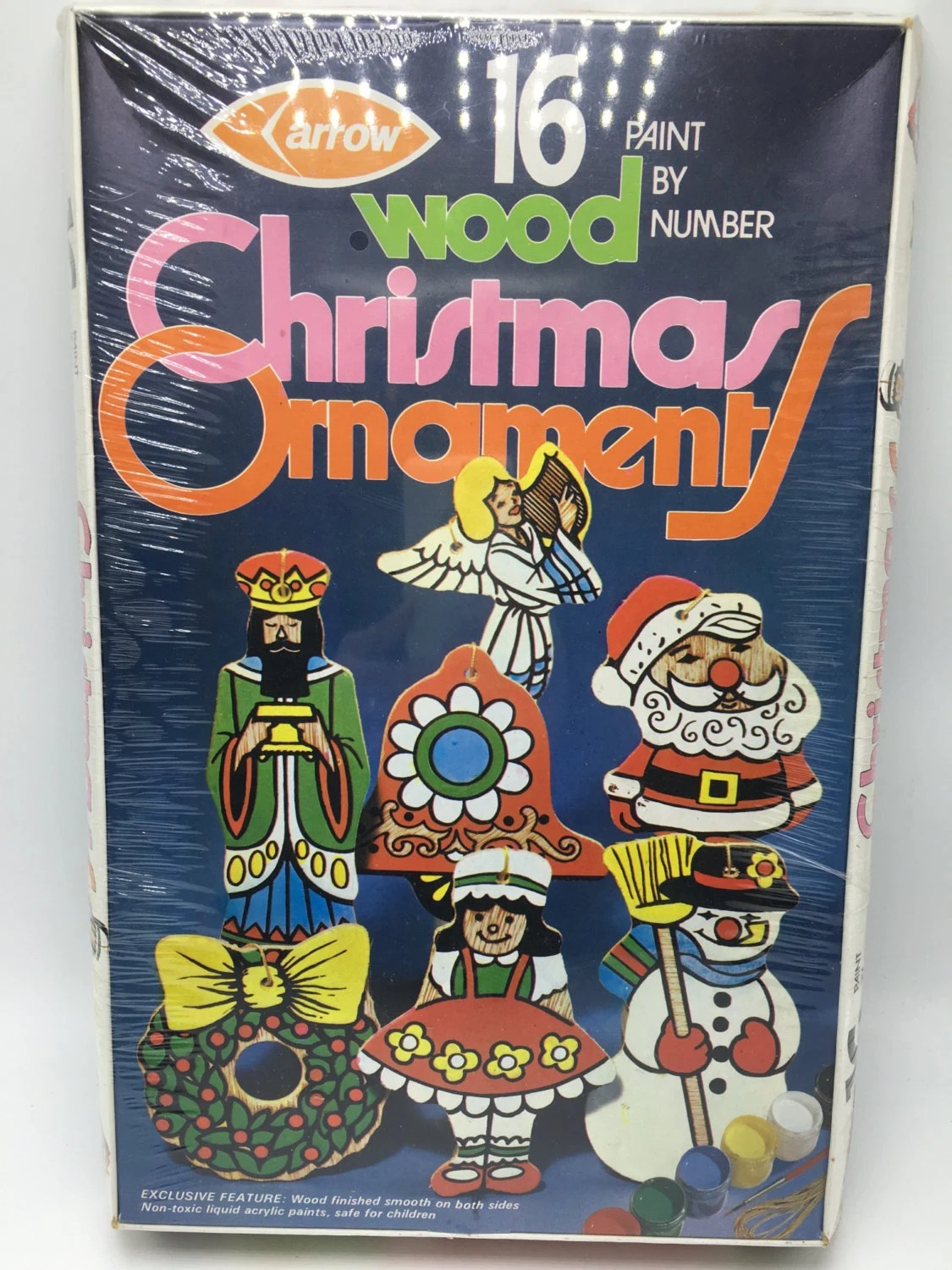 Vintage Arrow Paint By Number Wood Christmas Ornaments Kit