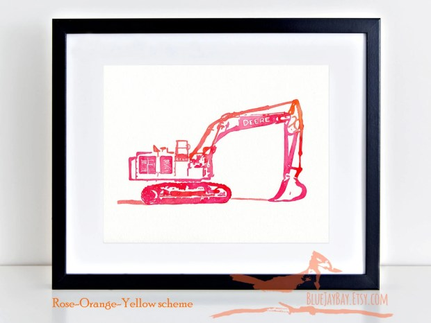 EXCAVATOR John Deere 670G construction truck watercolor painting playroom office wall art decor digger trucks ~ Original 8x10 - NOT a print