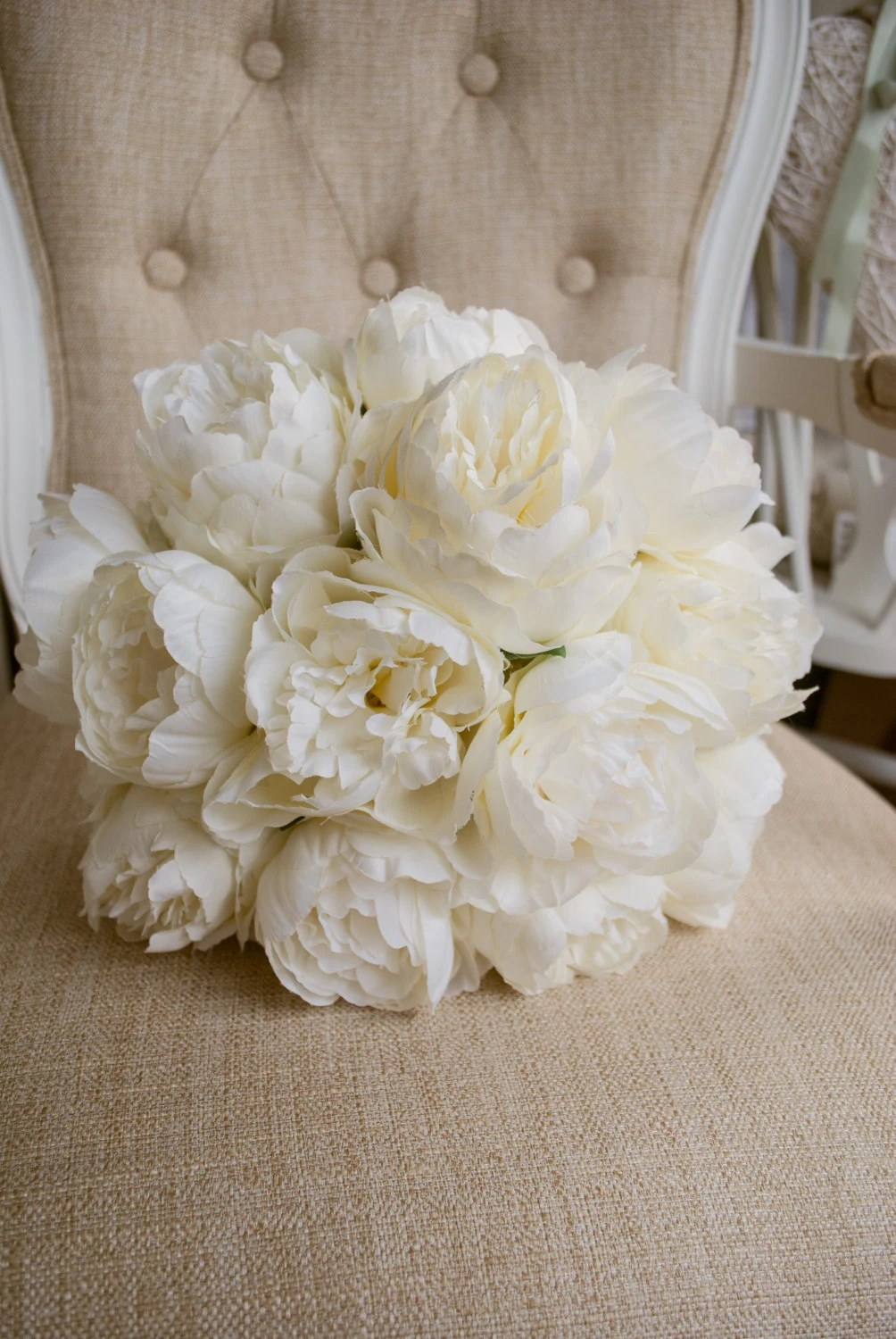 Luxury Ivory Peony Wedding Bouquet Made With Artificial