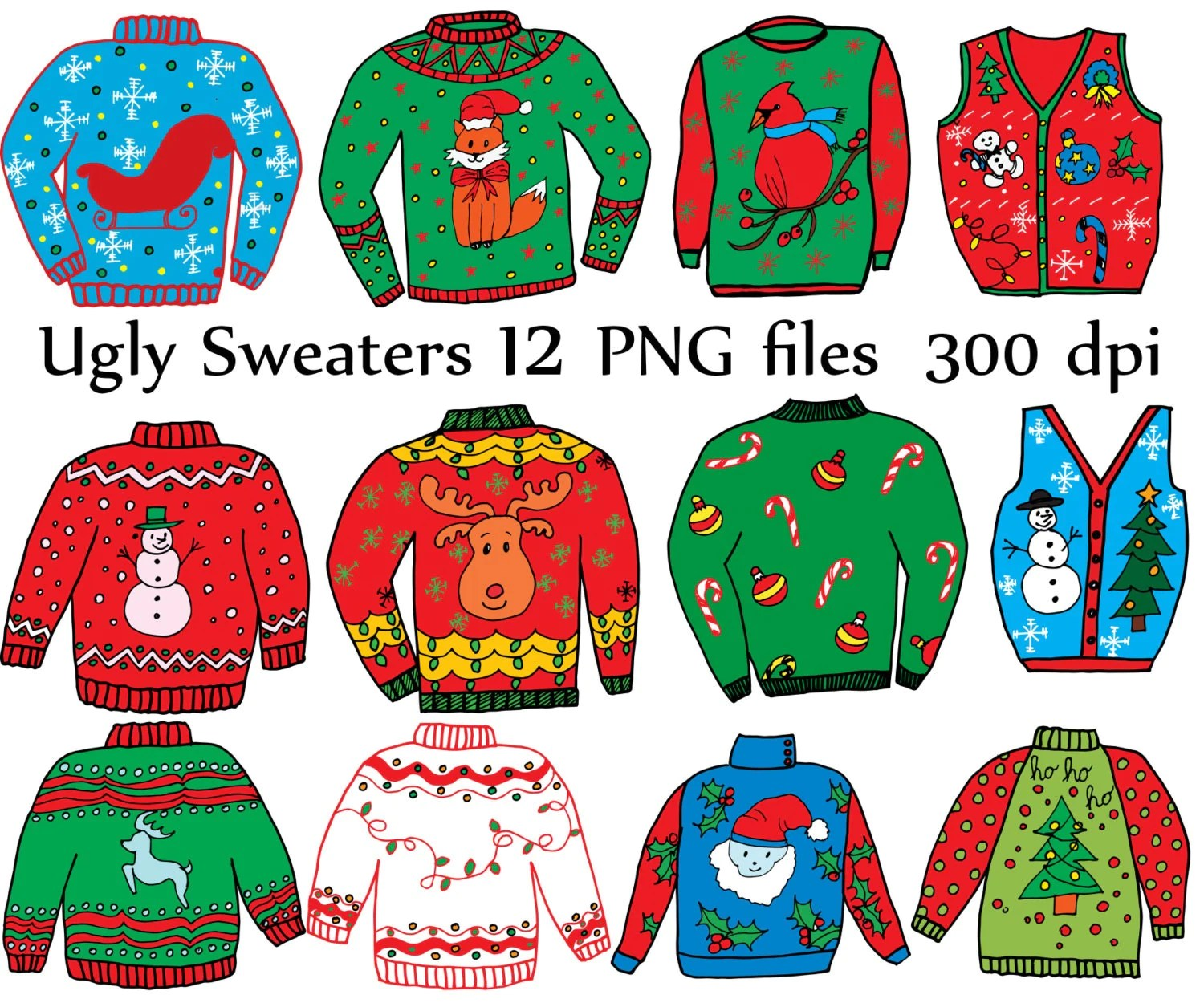 Ugly Sweater Clipart Christmas Clipart Holiday Clipart Doodle Clipart Ugly Sweaters Diy