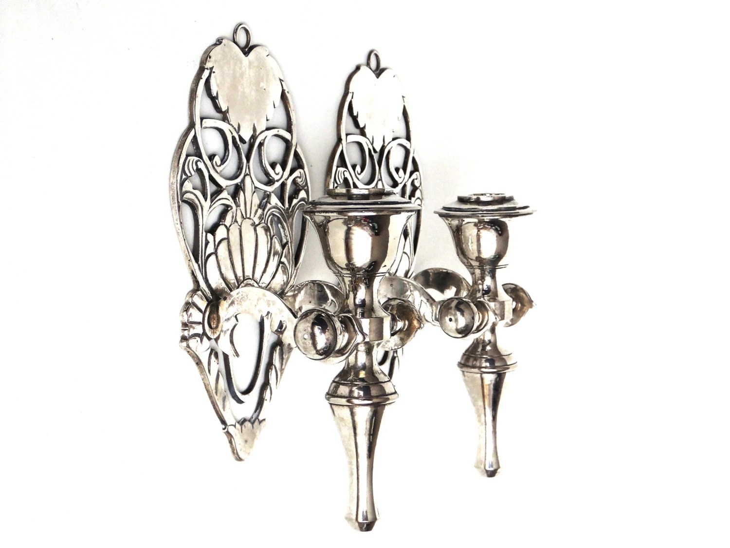 Pair Antique Silver plated Brass Wall Sconces / candle holders on Silver Wall Sconces For Candles id=48601