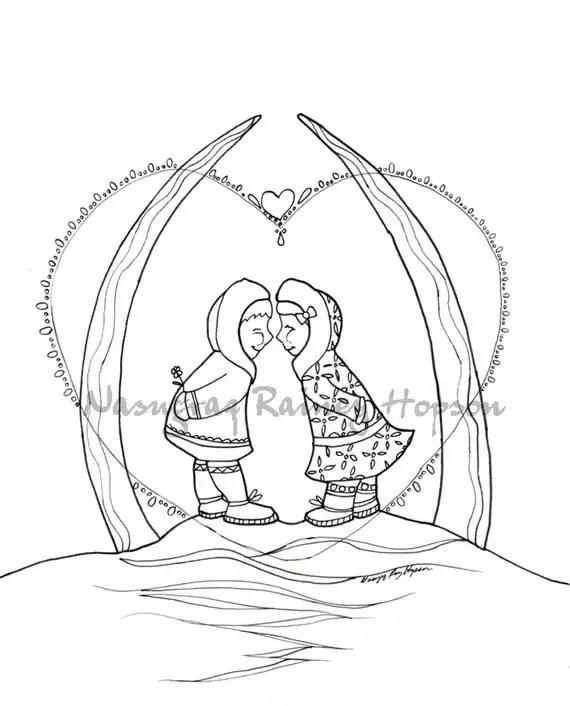 arctic kiss hand drawn alaska native coloring page