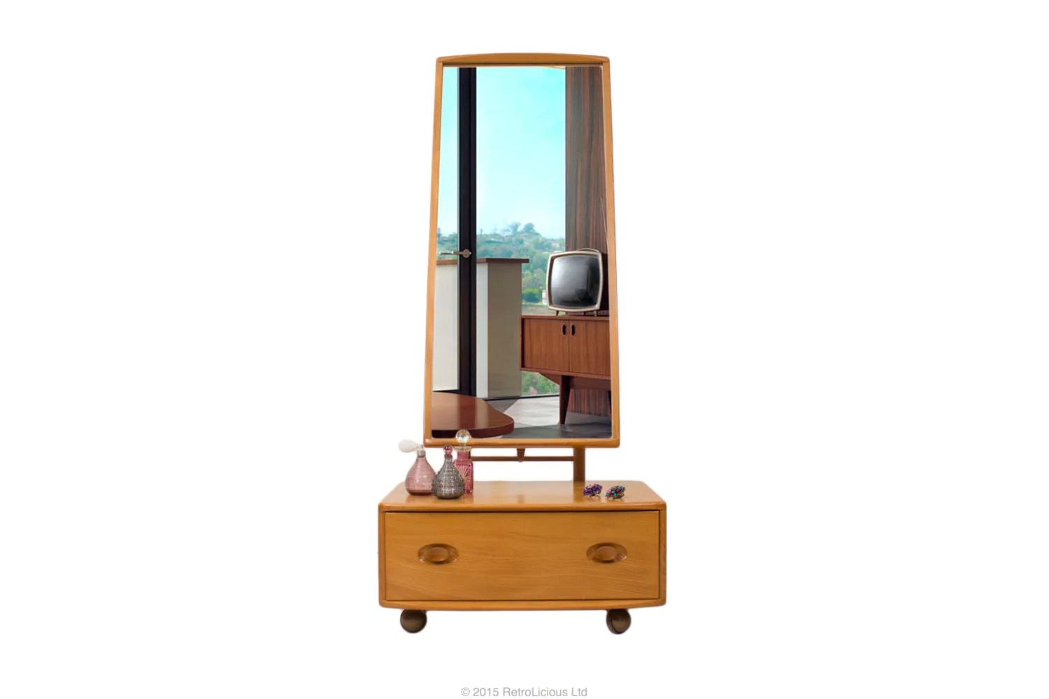 Vanity Unit With Mirror And Lights : Ercol Light Elm Windsor Dressing Table Vanity Unit Mirror Vintage Retro Haute Juice