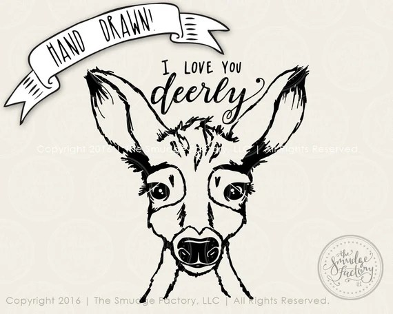 Download I Love You Deerly SVG Cut File Deer by TheSmudgeFactoryLLC