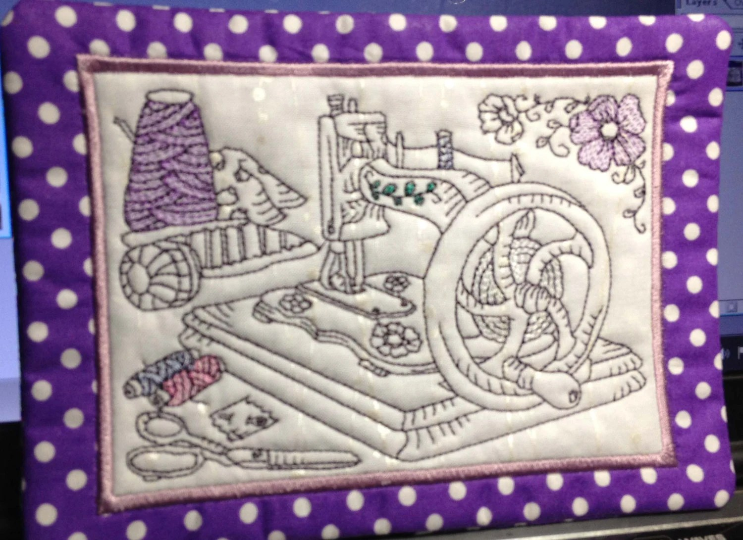 ITH Mug Rugs No 9 Antique Sewing Machines Instant