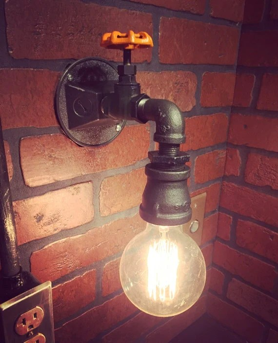 Steampunk Industrial Wall Sconce Light with by EdandSonsLights on Non Electric Wall Sconce Lights id=60643