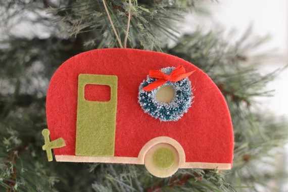 Camper Ornament, RV Ornament, Happy Camper, Felt Ornament, Christmas Ornament, Wine Bottle Tag