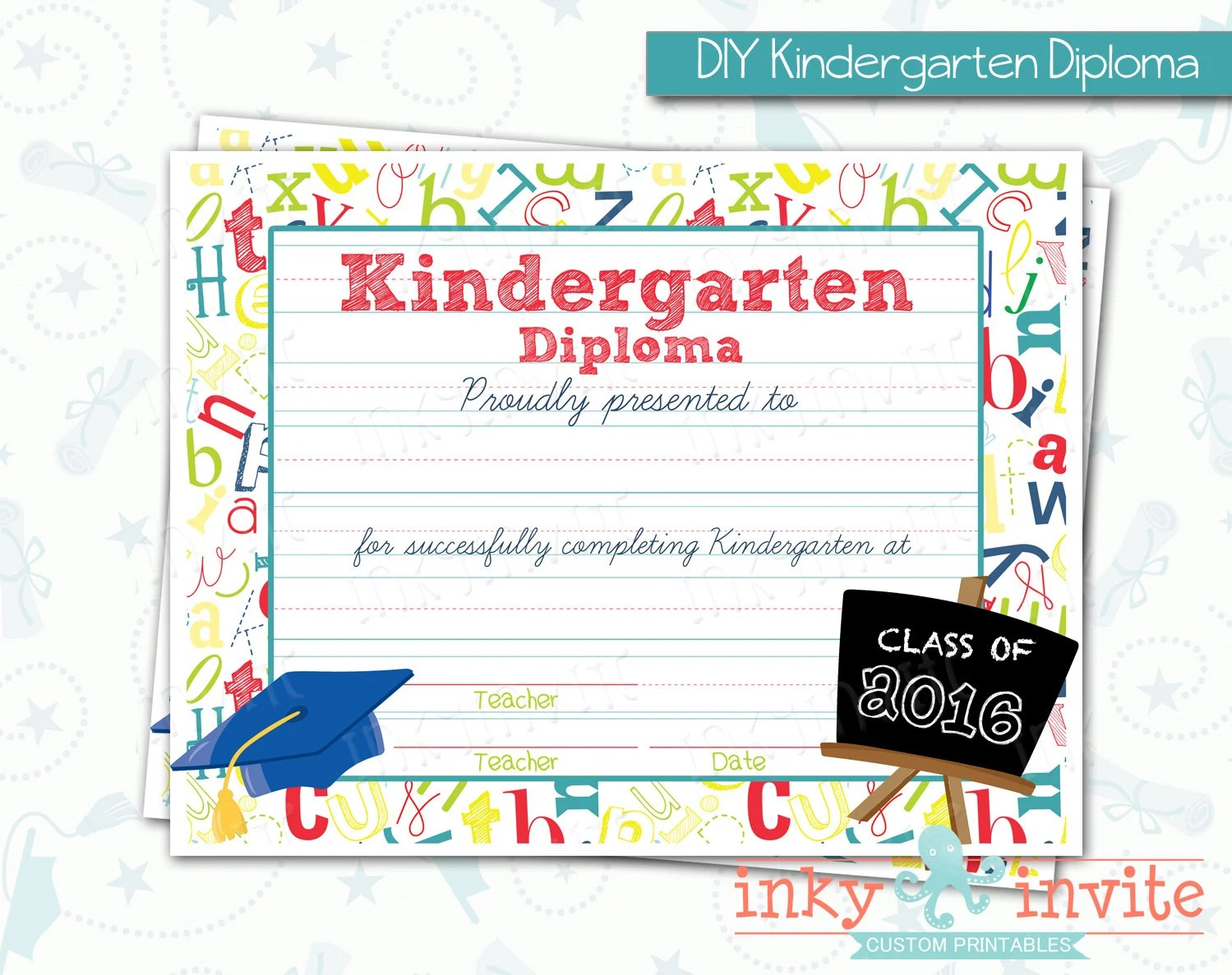 Kindergarten Graduation Diploma Kinder Class By Inkyinvite