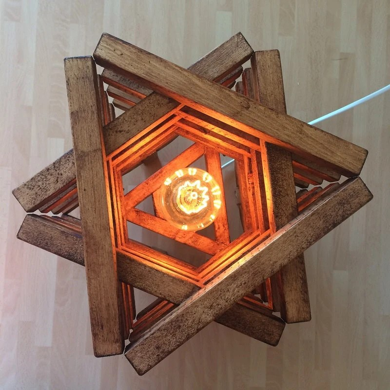 Table Floor Lamp Light Rustic Wood Stack Design Star Shaped