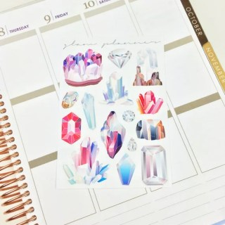 Crystals and Gems Deco Stickers (Glam Planner Glossy Planner Stickers)