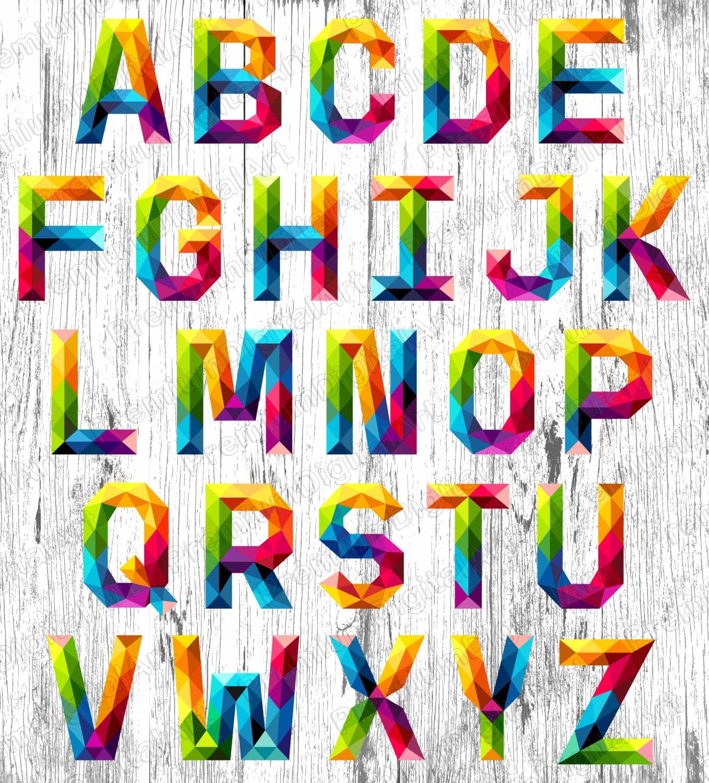 26 Rainbow Alphabet Pen Drawn Colorful Font Colorful