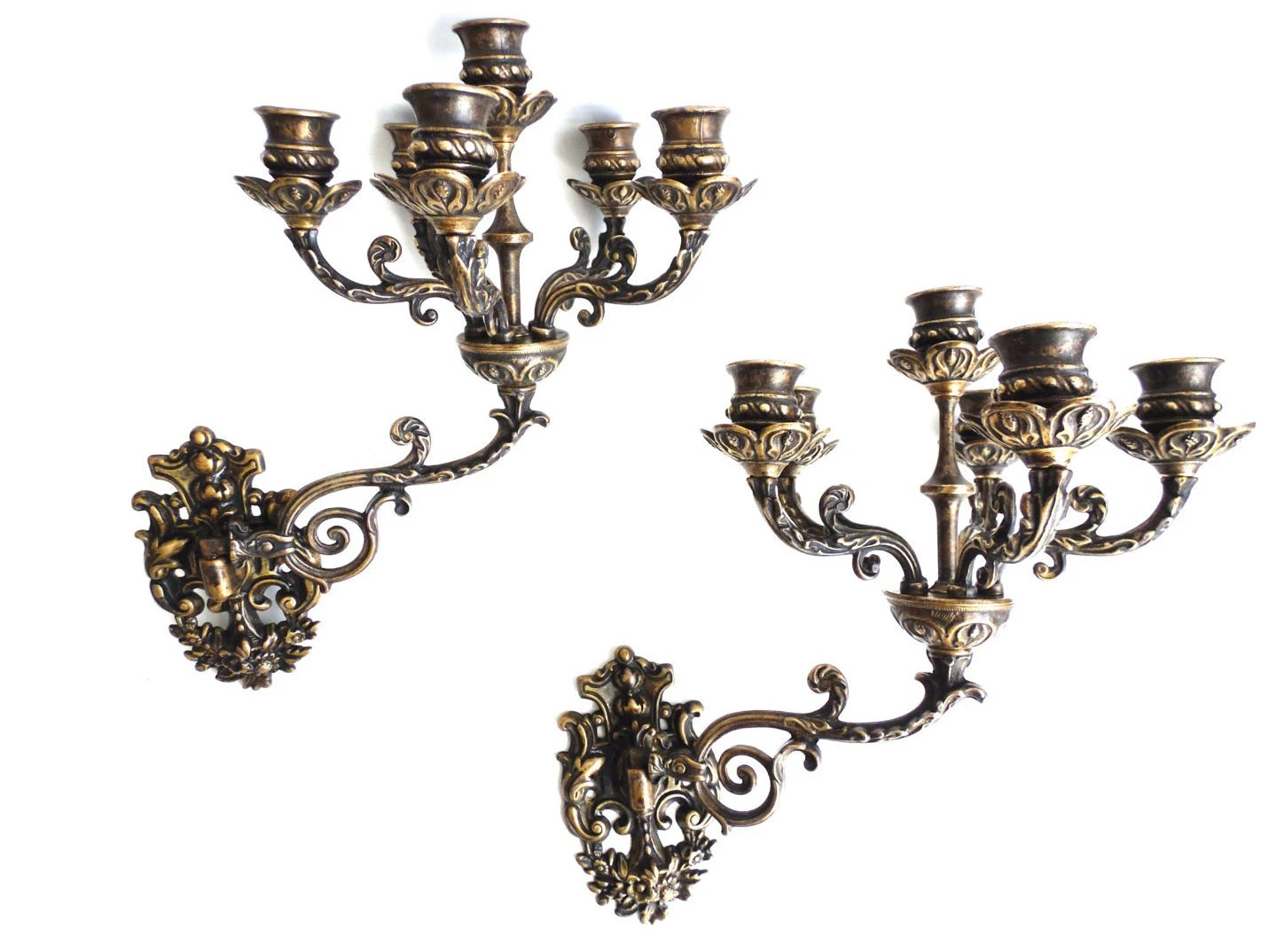 Ornate wall Sconces Pair Antique Solid Brass Victorian Wall on Victorian Wall Sconces id=43377
