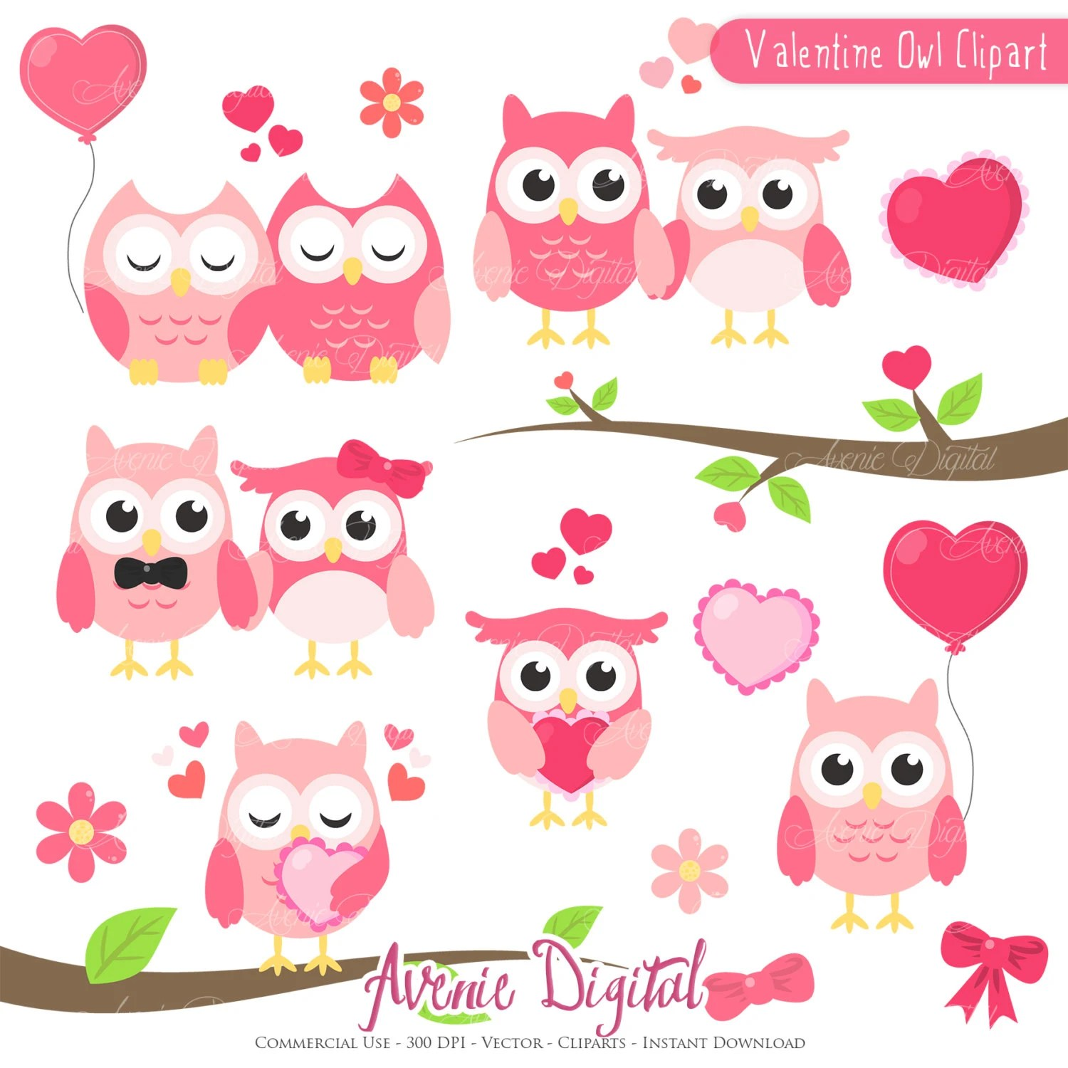 Valentines Owl Clipart Scrapbook Printables Holiday Clip Art Set For Commercial Use Valentine