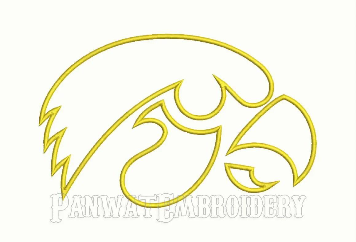 9 Size Iowa Hawkeyes Logo Applique Embroidery Designs Machine