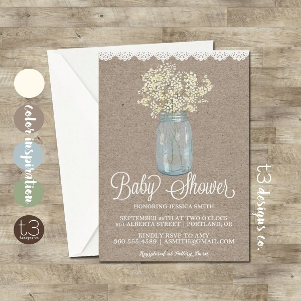 Country Baby Shower Invitation rustic baby shower invite