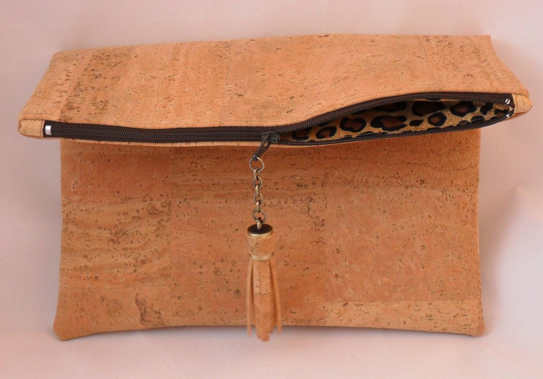 Cork Foldover Clutch Purse Bag Vegan Handbag Cork From