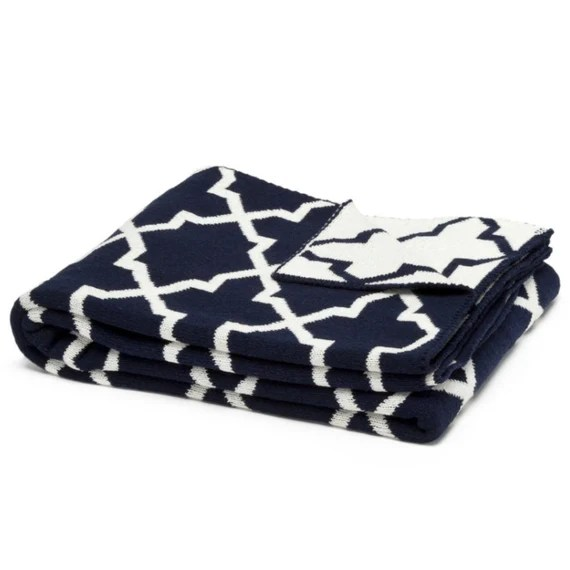 Eco Morocco Reversible Throw in Navy and White