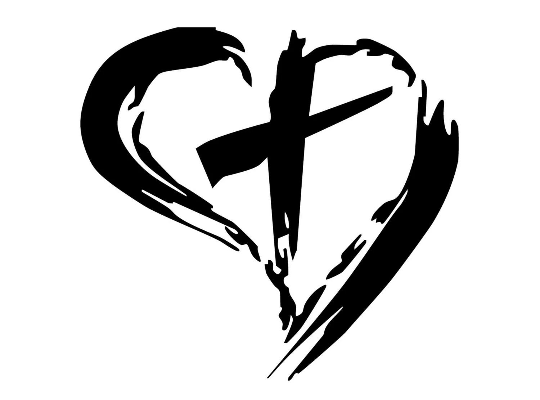 Christian Cross Inside Heart Decal Cross By