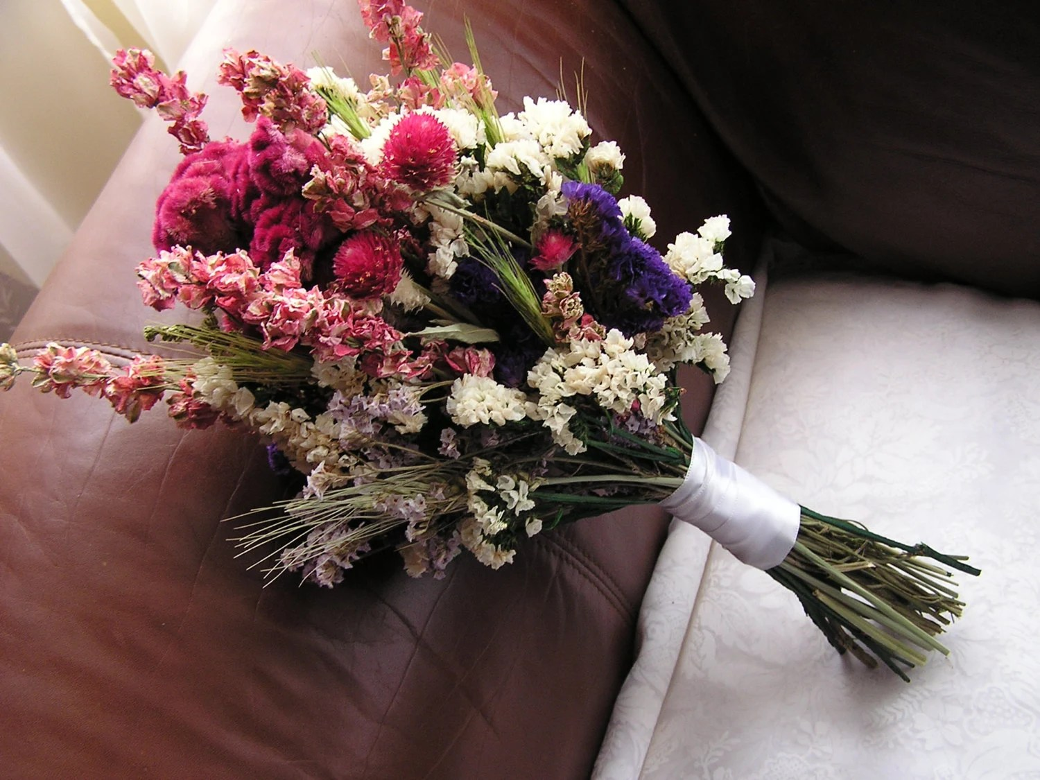 Dried Flower Pink And White Bouquet Wedding Dried Bouquet