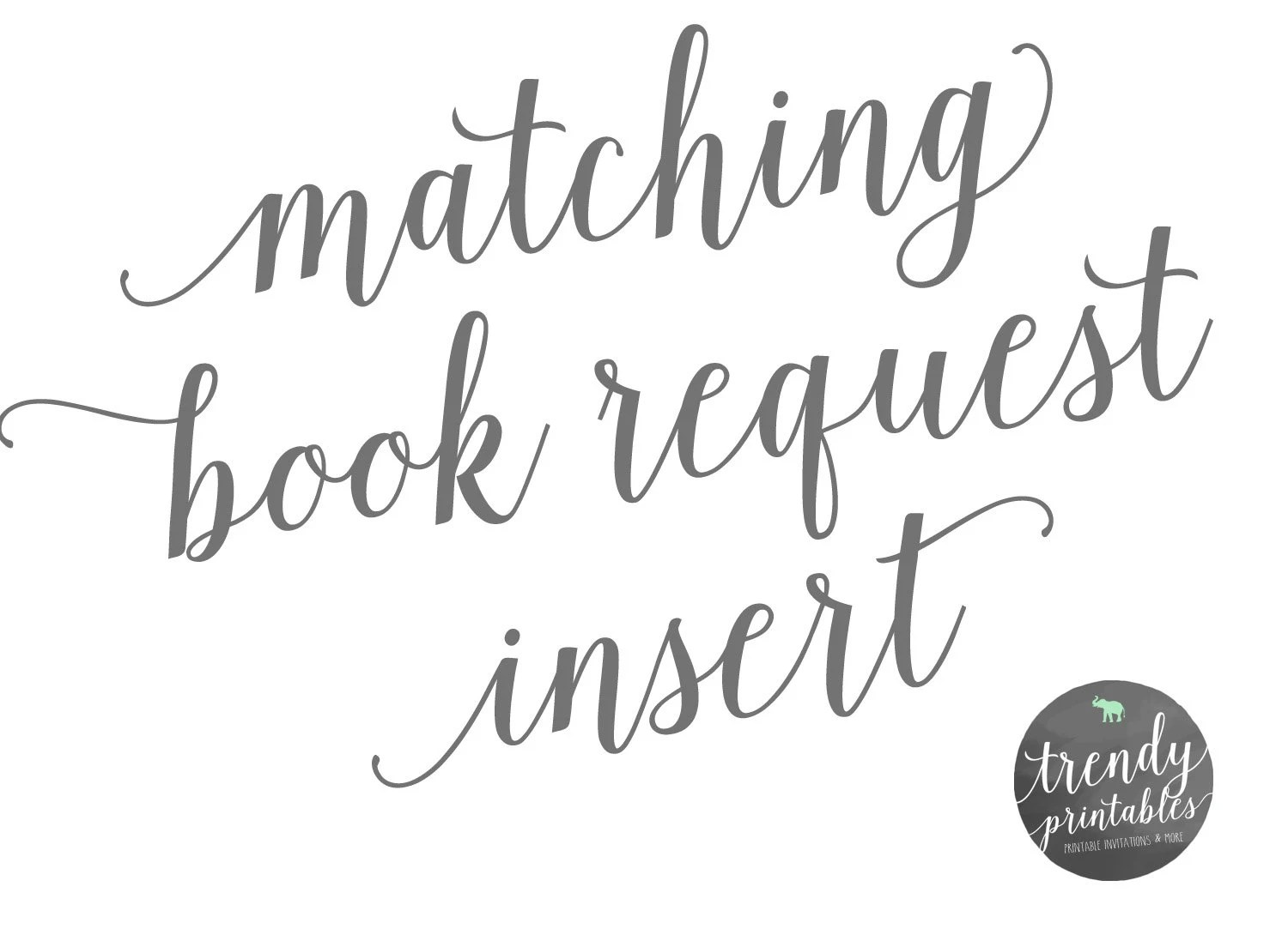 Matching Book Request Insert Book Request Baby Shower