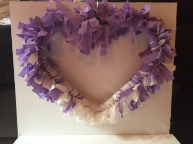 Purple and cream faded heart shaped recycled scrap rag wreath wall hanging, door hanging, hanging decoration