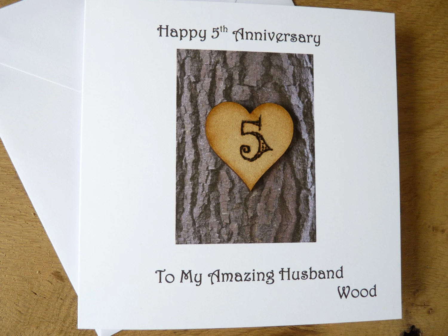 5th Wedding Anniversary Card Five Years Wood Gift 5th