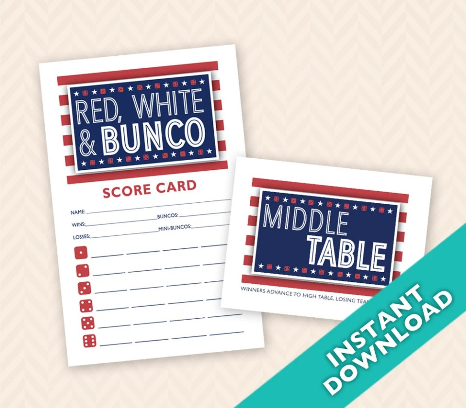 Red, White Bunco Scorecar...