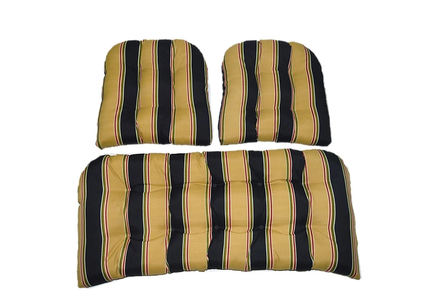 In / Outdoor Wicker Cushion 3 Pc. Set Black Tan Red Green