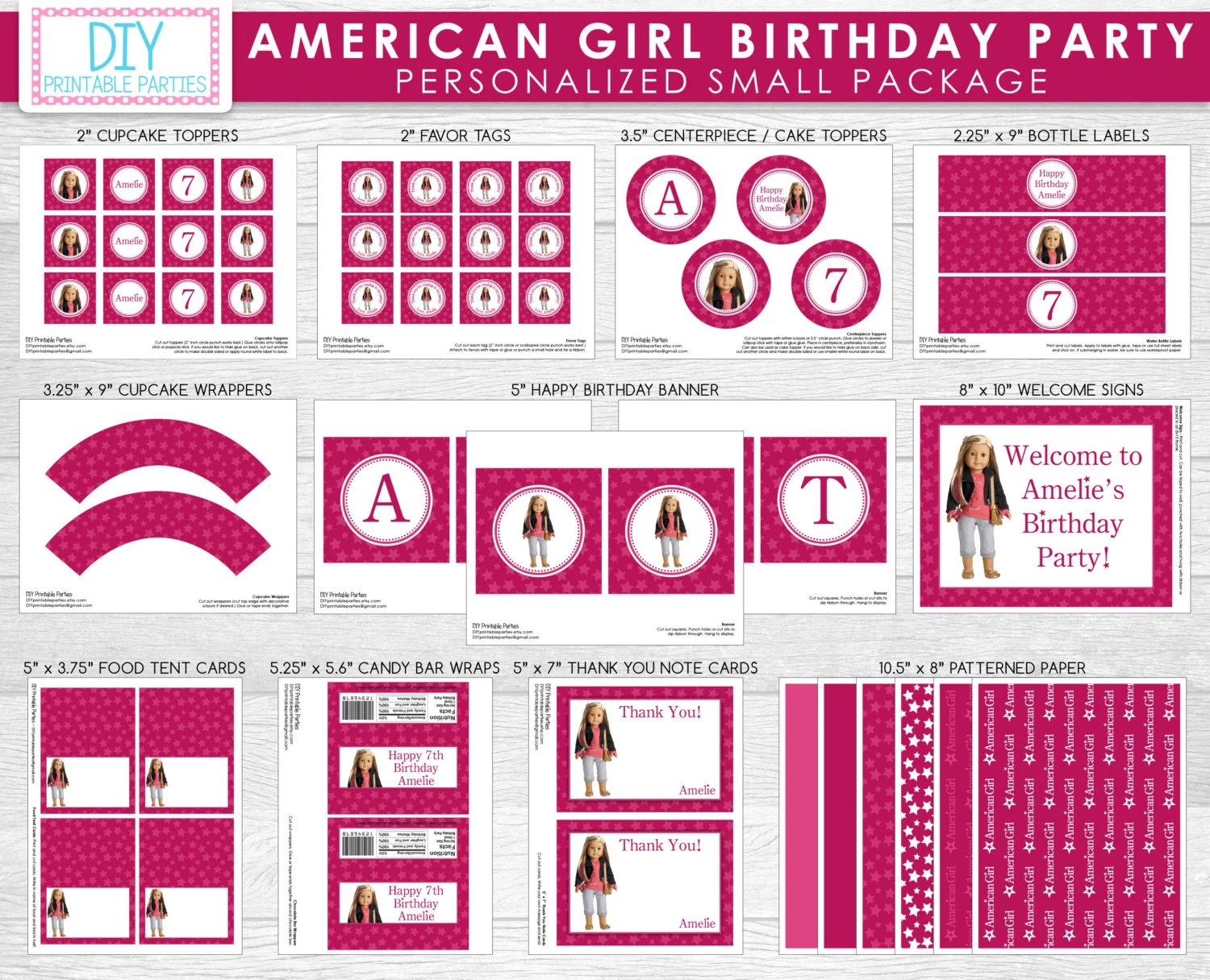 Printable Diy Pink American Girl Doll Theme Personalized Happy