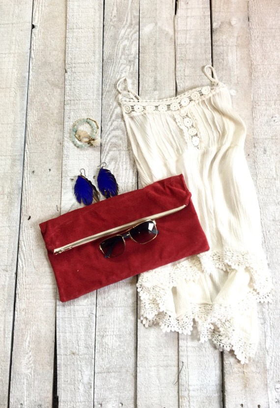 Red Leather Oversized Clutch, Suede Foldover Clutch, Repurposed Leather Purse, Evening Clutch with Upcycled Leather Fringe Zipper Pull