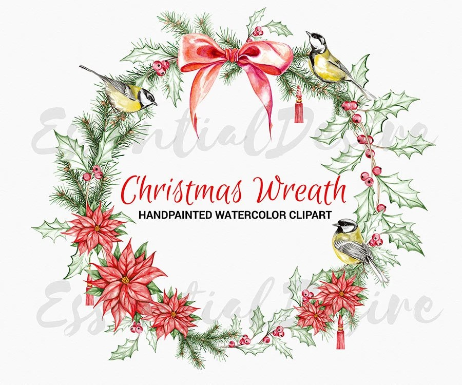 Christmas Wreath Watercolor Clipart Handpainted Illustration