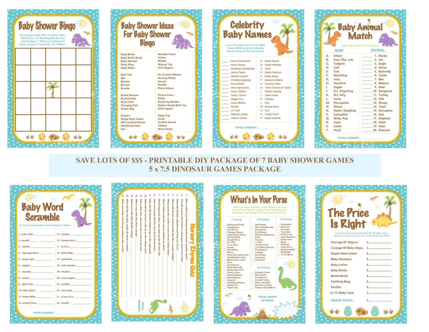 Dinosaur Baby Shower Game Pack Dinosaur Baby Game Printable