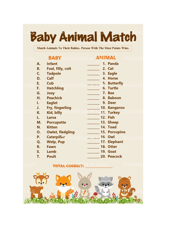 Woodland Baby Animal Match Baby Animals Name Game Printable