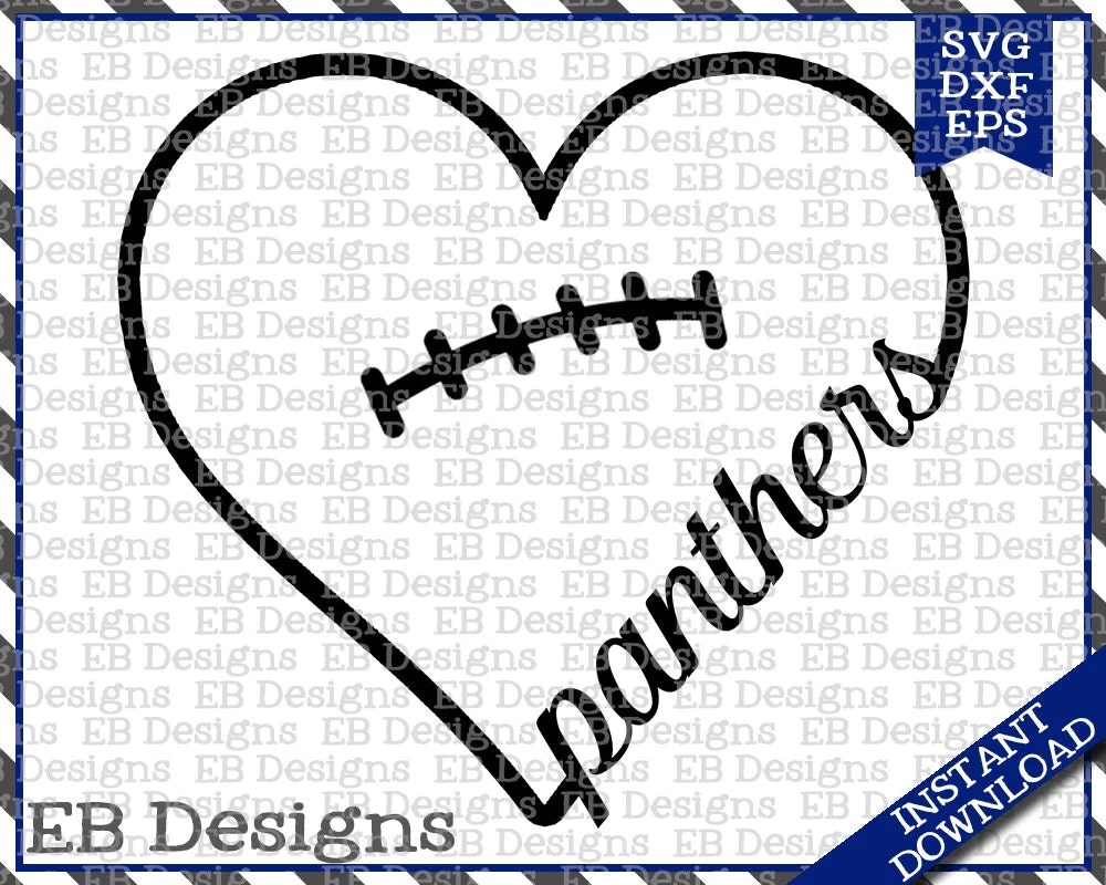 Download Panthers Football Love SVG DXF EPS Cutting Machine Files