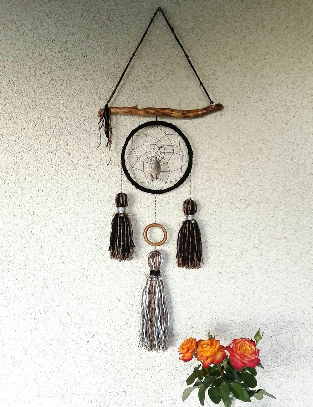 Black dream catcher Modern Boho decor minimalist on Modern Boho Wall Decor  id=77427