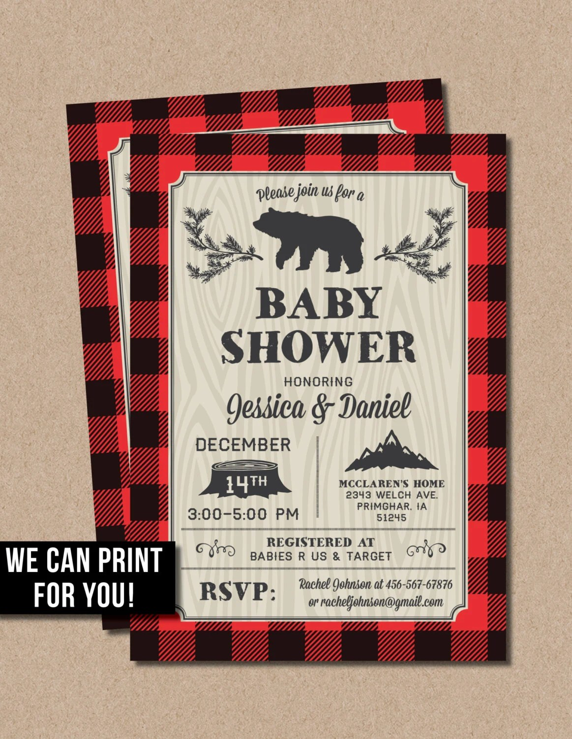 Rustic Baby Shower Invitations Or Lmberjack