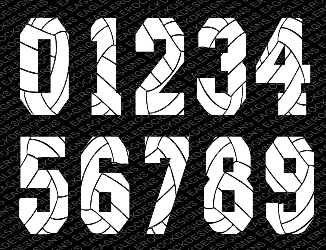 Download Volleyball Numbers SVG DXF EPS Cut File for Cameo and Cricut