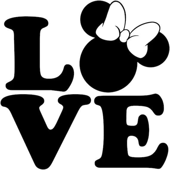 Download LOVE Minnie Mouse Head Walt Disney Disneyland World Decal